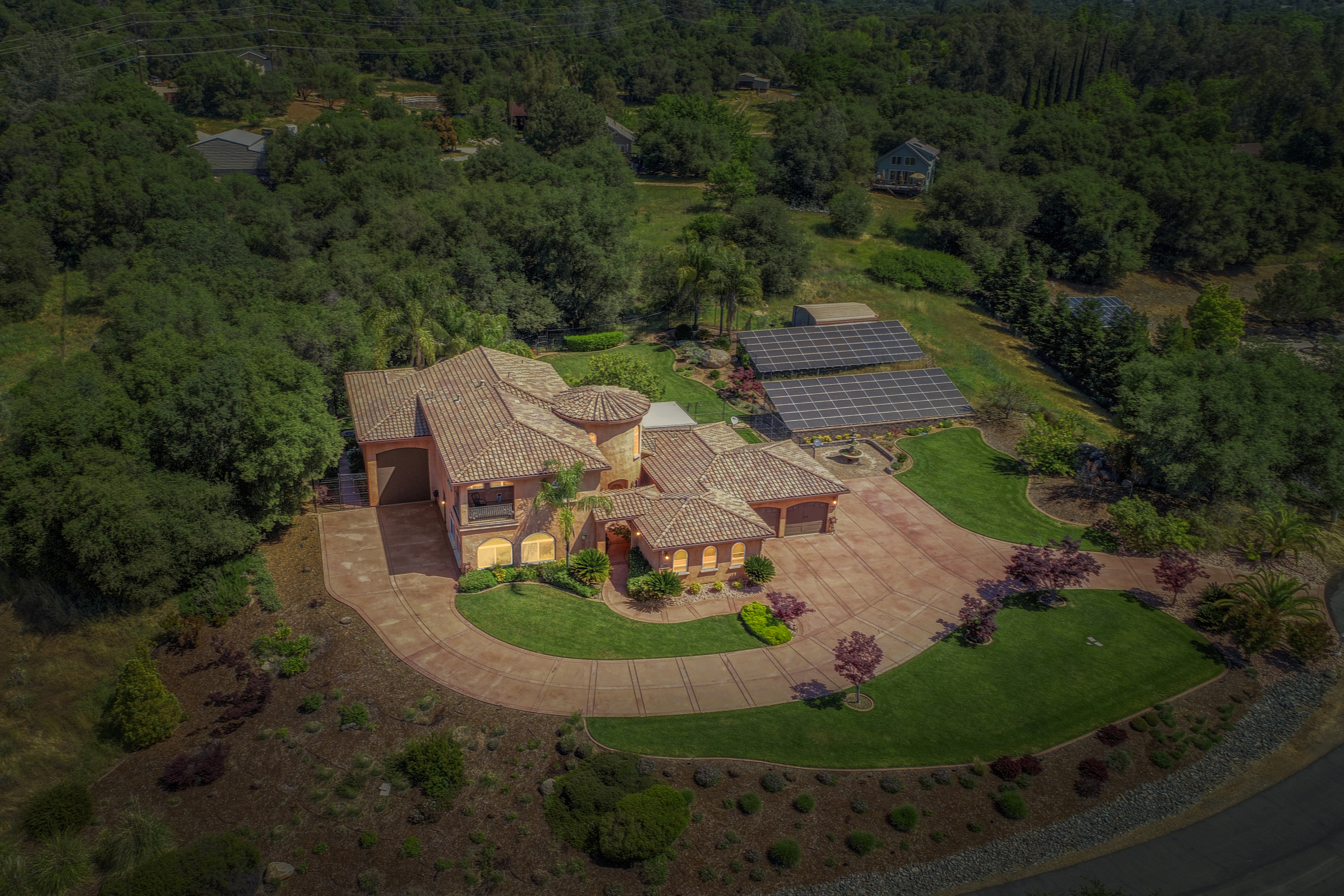 4865 sq ft Custom built Tuscan on 2.5 acres with solar, 45 ft RV Garage plus 4 car garage